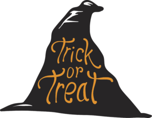 Black witch hat with the words Trick or Treat written inside in orange