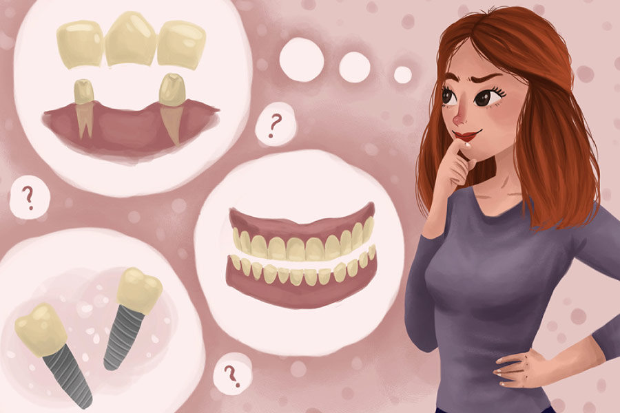 Cartoon of a woman with thought bubbles deciding between dental implants and dentures.