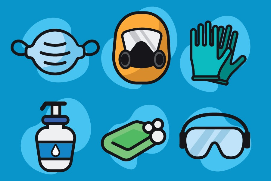 Cartoon graphic showing covid-19 safety equipment such as masks, gloves, sanitizer and soap.
